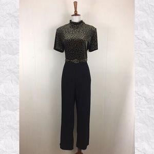 Vintage 90's Velvet Leopard Print Jumpsuit